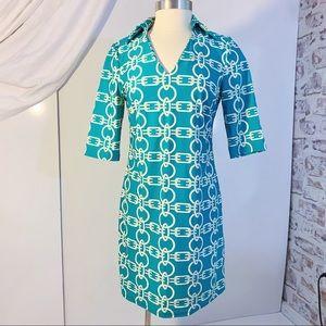 ARYEH Chain Print V-Neck Collared Shift Dress S